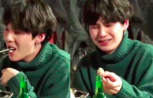 Which member drunkenly fed Suga a mussel shell?