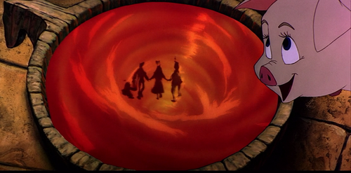 """Which one of these fairfolk can be seen with Hen Wen and Dallben in the last scene of """"The Black Cauldron""""?"""