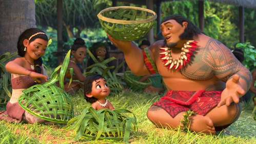 Instead of a basket, what did Moana fashion?