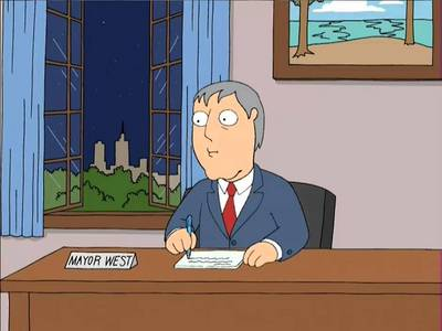 What town is Adam West the mayor of?