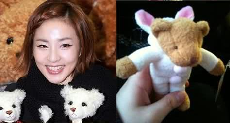 DURING THEIR TWO WEEK VACATION ON JANUARY 2011 ONE OF THE 2NE1 MEMBERS HAD BOUGHT THIS BEAR WITH RABBIT SUIT AS PRESENT FOR DARA.PICK THE RIGHT MEMBER