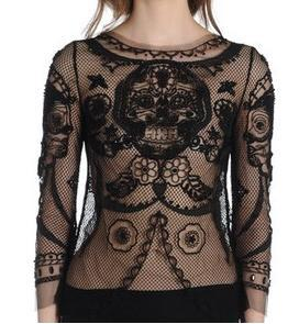 THIS EMILIO PUCCI kant, lace SKULL BODY overhemd, shirt HAVE BEEN WORN door 1 MEMBERS OF 2NE1 IN I LOVE u MV .WHICH ONE WEAR THIS BLACK SHIRT.