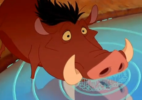"""Which animal is the first to sense Pumbaa's """"aroma""""?"""