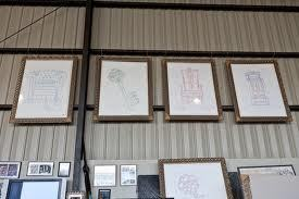 In this photograph, consists a display of Michael's artwork