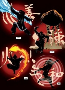 Aang intro : Water, _______, Fire, ________. Korra intro : ________, Fire, Air, __________.