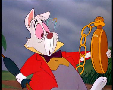 ALICE IN WONDERLAND: Every time the White Rabbit's watch is seen, what time is always shown?