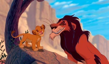 Simba : hujambo Uncle Scar, when I'm King, what'll that make you? Scar : A _______ uncle.