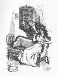 FROM THE BOOK: What is Willoughby doing with Marianne in this illustration?