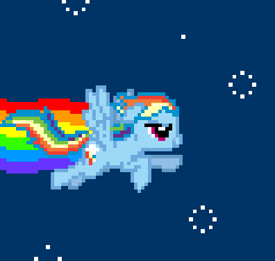 T/F: This picture is a Rainbow dash version of the nyan cat.