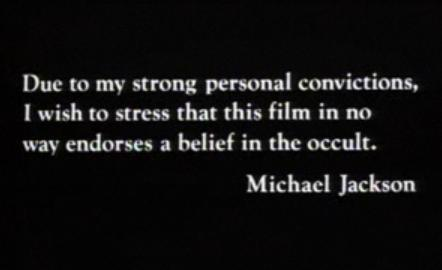 "This disclaimer was released following Michael's heated discussion with elders of the Jehovah's Witness faith in regards to the 1983 ""Thriller"" video"
