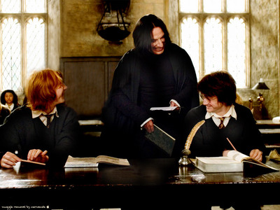 Why Severus, Harry and Ron are laughing?