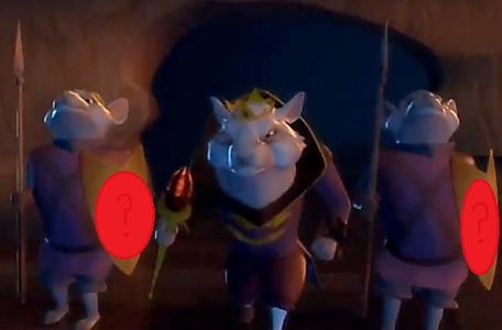 The rato King's army carry shields. What animal is on the shields?
