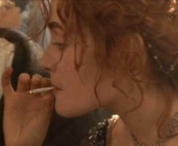 From who did Rose get the cigarette in the 3-rd class party?