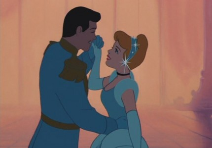 When Cinderella dances with The Prince she doesn't know that he is The Prince.