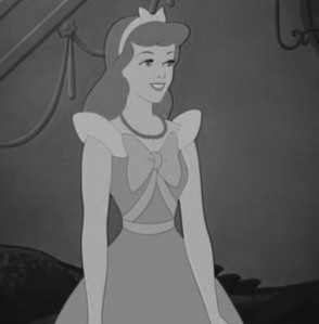 What color is the ribbon on Cinderella's head?