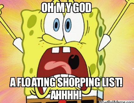 What was written on Mr.Krabs' shopping list?