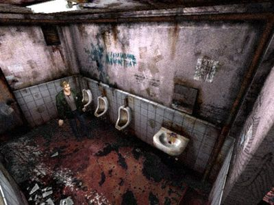 When you start a new game after you've beaten Silent Hill 2 for the first time, what can be found in the bathroom you start in?