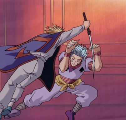 which sword did hisoka break in his fight with kurapica in hunter exam?