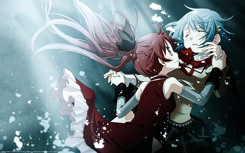 When Kyouko reveals her past to Sayaka in the church, what nourriture does she offer Sayaka?