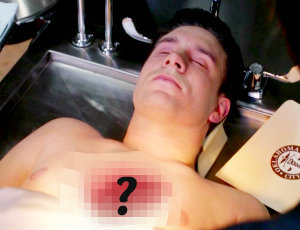 "In 8x08 ""Hunteri Heroici"", what shape is the hole in Gary Freleng's body?"