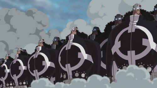Which of the following human weapons were destroyed por the strawhats?