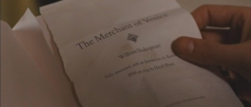 """What color is the book """"The Merchant of Venice""""?"""