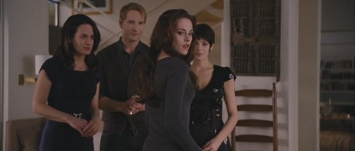 Was Renesmee at this scene? ( when the Cullens teach Bella being human)