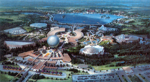 What are the themes and ideals of Epcot?