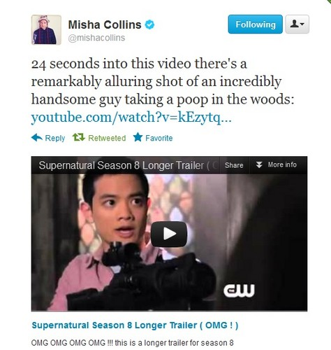 Misha tweets the Season 8 Promo