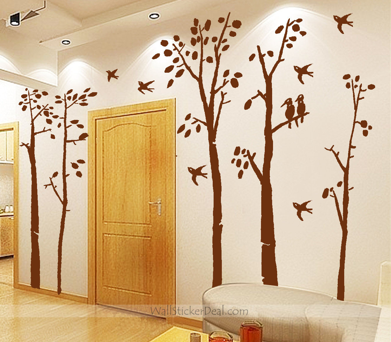 Birds in the Birch Forest Wall Sticker