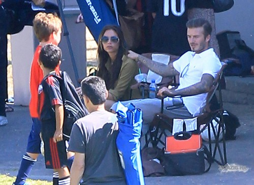 Sept. 23rd - LA - The Beckhams watching the boys play soccer