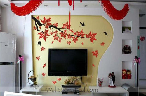 Autumn Maple Leaves and Birds Wall Stickers