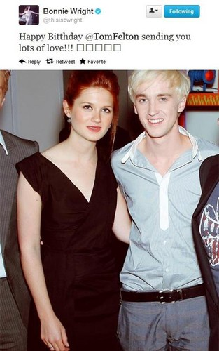 Bonnie Wright Tweet Happy Birthday To Tom Felton