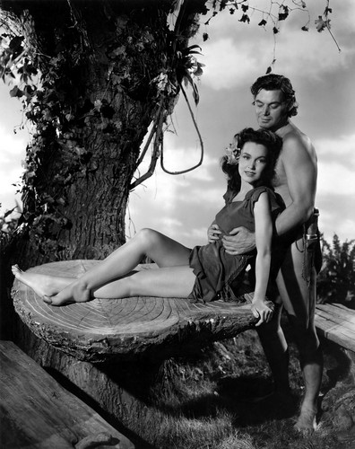 Johnny Weismuller With Maureen O'Sullivan