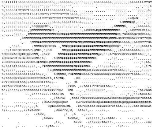 Red-winged blackbird rendered in ASCII from Wikipedia