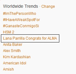 Worldwide Trend: 팬 Said Congratulation to Lana Parrilla