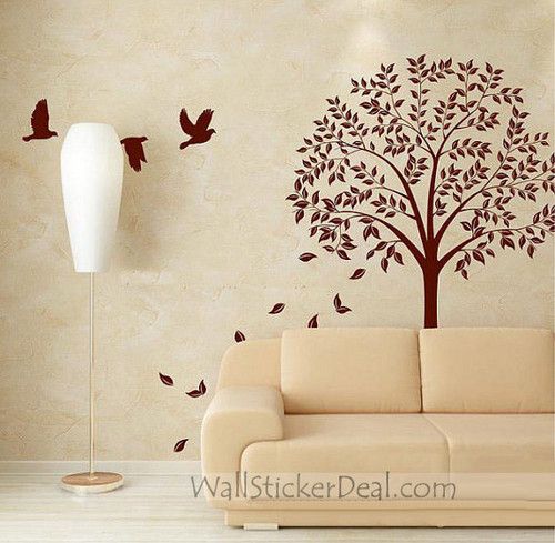 Autumn Season 나무, 트리 With Flying Birds and Falling Leaves 벽 Stickers