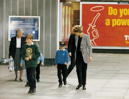 Diana, Princess of Wales with Princes William and Harry, and their nanny Olga Powell
