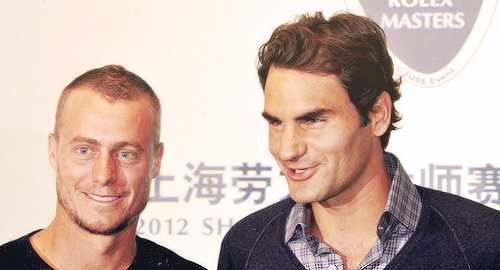 Roger at the Shanghai Rolex Masters draw ceremony