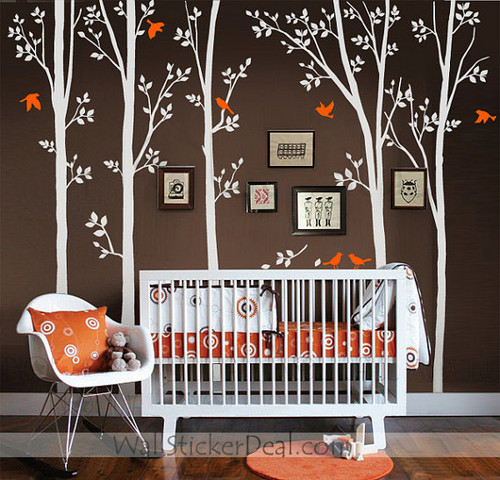 Spring Tree With Birds Wall Sticker