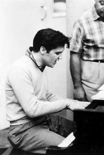 Elvis Presley in the Studio recording for 'King Creole', 1958.