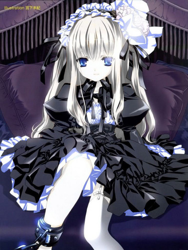 Cute gothic lolita anime girl