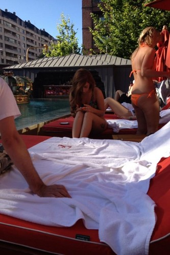 Gaga at the pool of her hotel in Buenos Aires