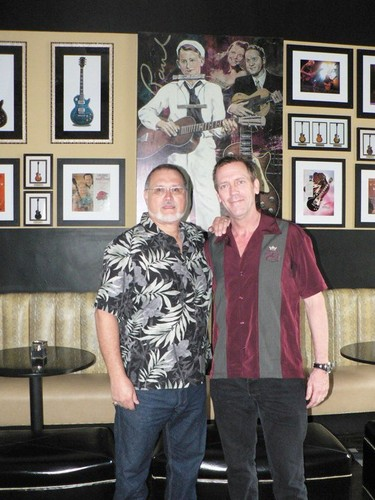 Bill (proprietor of Maggie Mae's) and Hugh Laurie May 2010