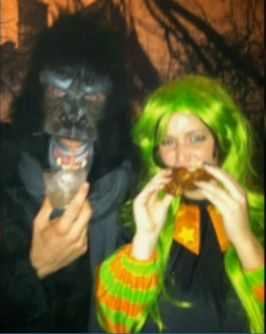 Jennifer Lawrence and Bradley Cooper as a Fat Witch and a Gorilla for Halloween