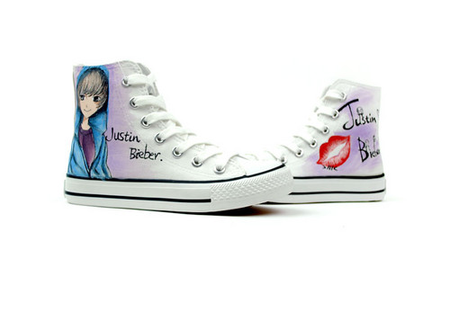 Justin Bieber custom canvas shoes