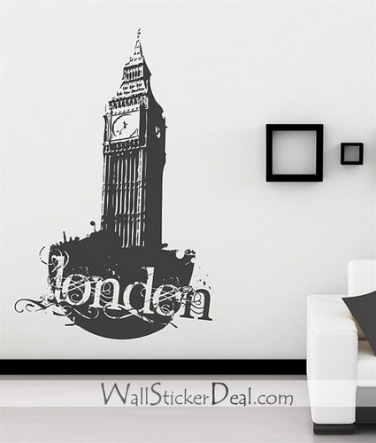 London Vintage Clock Wall Stickers