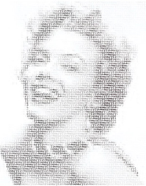 Marilyn? From http://hurmphh.blogspot.com/2011/08/awesome-ascii-art-10pictures.html
