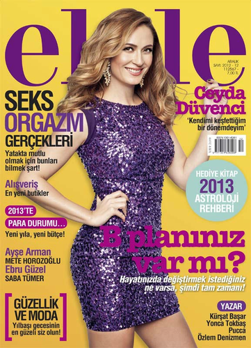 Ceyda Duvenci on the cover of Turkish Elele magazine December 2012