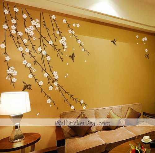 Birds Garden blume Wand Sticker
